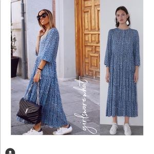 Zara long printed dress bloggers favorite